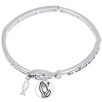 Jeremiah 29:13 Bible Verse Engraved Stretch Charm Bracelet Praying Hands