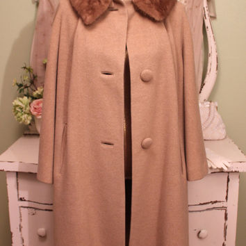 50s - 60s Pure Cashmere Coat - Caramel Swing Coat - Brown Mink Collar - Beige Retro Coat - Women's Vintage Winter Coats - Ladies Size M - L