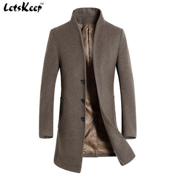 Letskeep Winter woolen long peacoat men slim fit casual thick overcoat