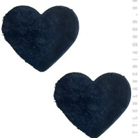 Heart Pasties in Black Fuzz