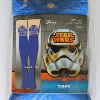 Licensed cool NEW Disney Star Wars R2D2 R2-D2 Droid Blue/Sheer Tights Nylons Stockings S/M M/L