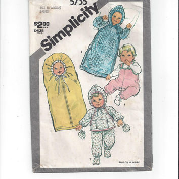 Simplicity 5735 Pattern for Babies' Winter Layette, From 1982, Bunting, Pants, Top, Overalls, Newborn, Vintage Pattern, Home Sewing Pattern