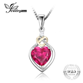 JewelryPalace Love Knot Heart 2.5ct Created Red Ruby 925 Sterling Silver 18K Yellow Gold Anniversary Pendant Necklace 45cm Chain