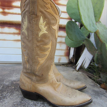 70s/80s Tan Suede Leather Cowgirl Boots, US 6,5 EUR 37 UK 4 // Vintage Inlay Cowboy Boots // Western Boots