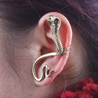 Single snake ear cuff fit for left ear earring for pierced ear ear bones folder ear Stud trending gifts