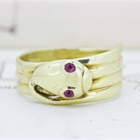 Antique Snake Ring   Unique Engagement Ring   Ruby Gemstone Ring  July Birthstone   18k Yellow Gold Ring  Victorian Serpent Ring   Size 5.25