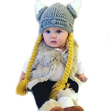 Kids Crochet Viking Hat with Braids and Horns