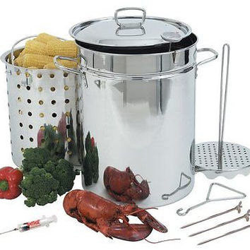 Bayou Classic Stainless Steel Kitchen Steam Set Cookware Turkey Fryer Chicken