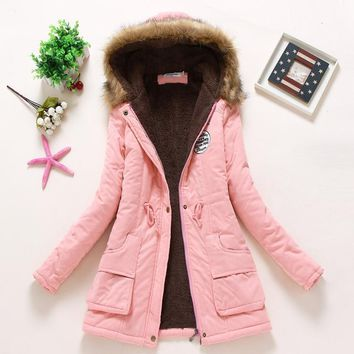 new Winter Womens Parka Casual Outwear Military Hooded Coat Winter Jacket Women Fur Coats Woman Clothes manteau femme