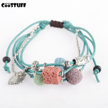 Lava Stone Beads Women Bracelet Hemp Rope Bangles Men Bracelets For Women Nature Stone Bracelet women Strand Bracelets Jewelry