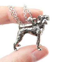 Realistic Boxer Dog Shaped Animal Pendant Necklace in Shiny Silver   Jewelry for Dog Lovers