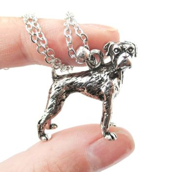 Realistic Boxer Dog Shaped Animal Pendant Necklace in Shiny Silver | Jewelry for Dog Lovers