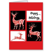 Candy Cane Reindeer, Holiday Greeting Card