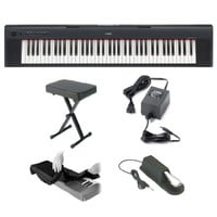 Yamaha Piaggero NP31 76-Key Lightweight Compact Portable Keyboard with Portable X-Style Keyboard Bench, Yamaha PA150 Power Adapter, Piano Style Sustain Pedal and Keyboard Dust Cover Piano