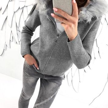 Gray Jacket with Fur Hood