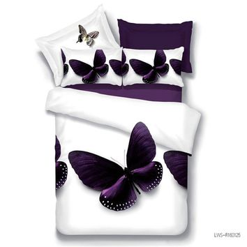 Customized 3D Bedding Sets butterfly Duvet Cover set Bed Sheet Set Linens set Queen size Printing Quilt cover