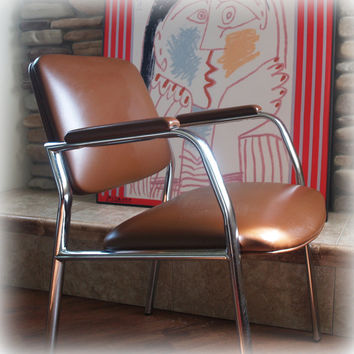 MID CENTURY MODERN Chair Vintage Bent Steel Chrome Frame Upholstered in Faux Brown Leather; Retro, Seating, Occasional, Accent, Armchair