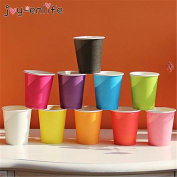 JOY-ENLIFE 10pcs Disposable Paper Cups Wedding Vending Party Cup Tumblr Glasses 9oz New Solid Color for Wedding Party Supplies
