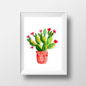 Cactus Printable Wall Art cacti home decor nursery print watercolor Botanical desert plant drawing cactus pot poster succulent picture 8x10