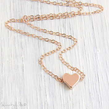 Rose Gold Heart Necklace - Tiny Heart Necklace, Gold Filled Necklace, Dainty Necklace, Delicate Necklace, Rose Gold Jewelry, Bridesmaid Gift