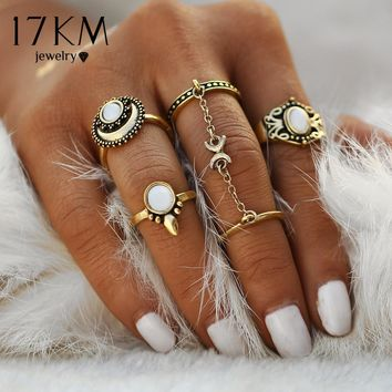 17KM 5pcs/Set Boho Beach Flower Tibetan Moon And Sun Midi ring Sets for Women Knuckle Siamese brinco Chain Mittens Rings Gift