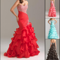 Sexy Sweetheart Beaded Mermaid Party Prom Evening Gown Pageant Dresses Custom