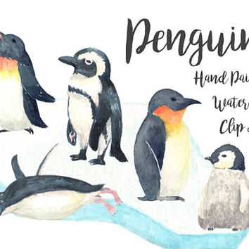 Penguins Watercolor Clipart Digital File baby shower Download decoration digital kids birthday invitation ice printable
