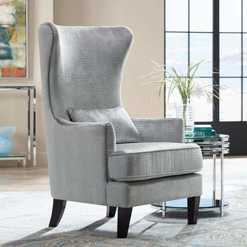 Aston Silver Alligator Print Upholstered Wingback Armchair - #7K190 | Lamps Plus