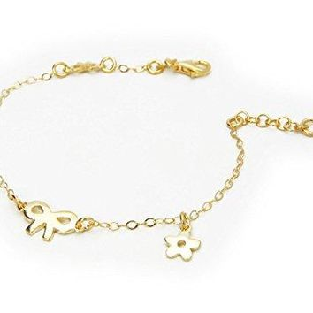 """AUGUAU BecKids .925 Sterling Silver Bow and Flower Charm Bracelet for Kids Dipped in Gold, 6"""" + 1"""" Extender"""