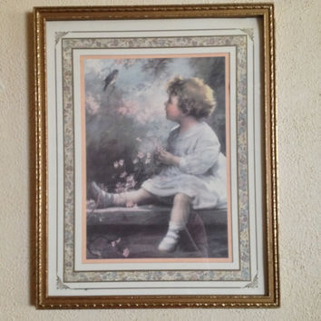 Vintage Wood Framed Print 1930s Style Home Interiors Song Of T