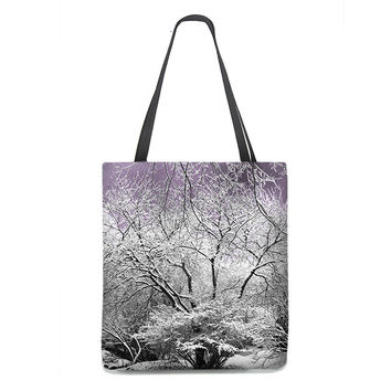 Snow Laced Trees Tote Bag with lavender sky
