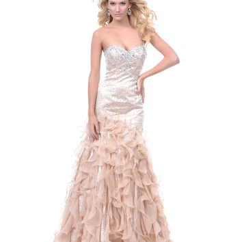Champagne Belle of the Ball Mermaid Prom Gown 2015 Prom Dresses