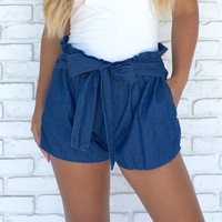 Jenny Medium Wash Cotton Shorts