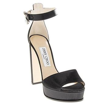 Jimmy Choo Black Wetlook Vintage Buckle Canvas Platform Sandals
