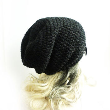 Black Beanie Slouchy Beanie Charcoal Gray Crochet Slouch Hat Baggy hat Mens Womens Teen spring winter accessories