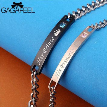 GAGAFEEL Stainless Steel Bracelets For Women Men Couple Jewelry With Crystal His Princess & Her Prince Bracelets Dropshipping