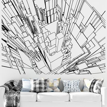 Line Art of City Buildings Sky View Vinyl Wall Decal Sticker. #5255