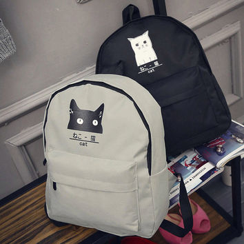 Cute Fashion Girl Womes Canvas Lovely Cat  Backpack Travel Satchel Rucksack School Book Bag