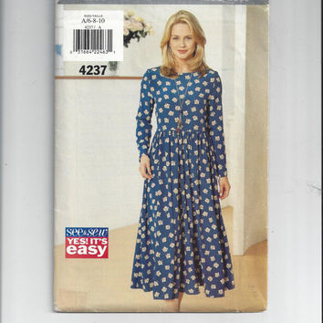 Butterick 4237 See & Sew Pattern for Misses Dress, Size 6, 8, 10, Yes! It's Easy, FACTORY FOLDED and UNCUT