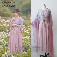 """Letter of Love Fate"" 3Pcs Set Women's Chinese Style Vintage Daily Dress Fairy Kei Hanfu Long Dress Long Sleeve Spring"