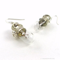 Light Bulb Earrings (Science Jewelry, Steampunk Style)