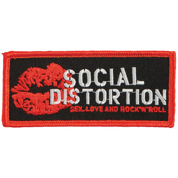 Social Distortion Men's Lip Logo Embroidered Patch Black