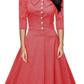 Fashionable seven-sleeved Plaid collar, button, bow tie, fluffy dress