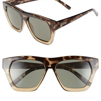 Women's Le Specs 'New Wave' 57mm Retro Sunglasses - Khaki Tortoise