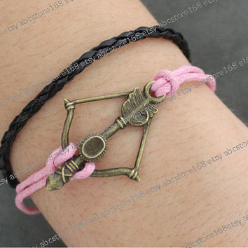Anchor Bracelet-antique bronze bracelet-pink rope bracelet black leather bracelet