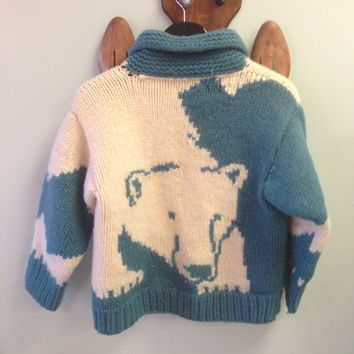 Vintage Cowichan Blue and White Polar Bear  Cardigan Sweater