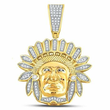 10kt Yellow Gold Mens Round Diamond Native American Indian Chief Charm Pendant 1-3 Cttw