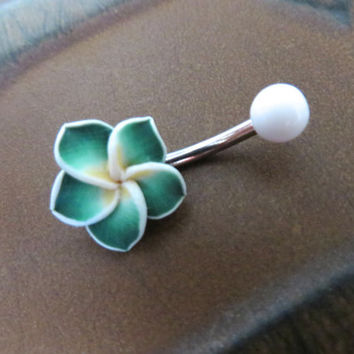 Green Hawaiian Flower Plumeria Belly Button Ring Hawaii Navel Stud Jewelry Bar Barbell Piercing Tropical Hibiscus