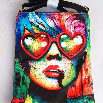Electric Wasteland Shoulder Sling Strap Bag - Colorful Rainbow Punk Lowbrow Pop Art Large Tote Leather Purse Rockabilly Psychobilly Horror