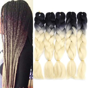 "5Pcs 24"" Ombre Dip Dye Kanekalon Jumbo Braid Pigtail Hair Extensions Ponytails Synthetic Wigs"